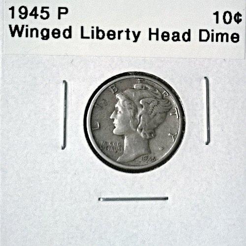 1945 P Winged Liberty Head Dime - 6 Photos!