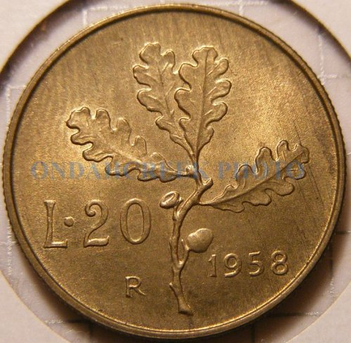 Italy 1958 R 20 Lire GEM BU World Coin