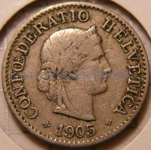 Switzerland 1905B 5 Rappen Better Date World Coin