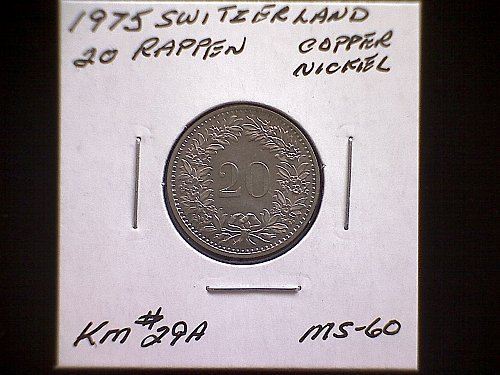 1975 SWITZERLAND TWENTY RAPPEN