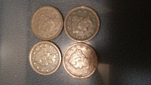 1844,1845,1847,1853 USA ONE CENT coin's
