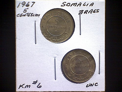 1967 SOMALIA FIVE CENTESIMI  (2 COIN SET)