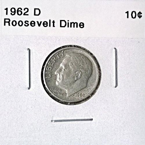 1962 D Roosevelt Dime - 4 Photos!