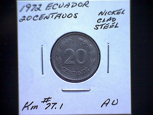 1972 ECUADOR  TWENTY CENTAVOS