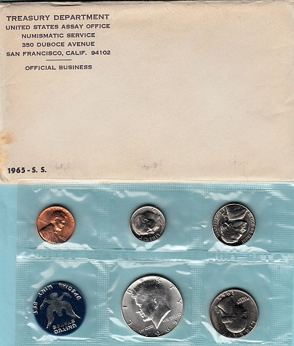 U.S. Uncirculated Coin Set  1965 S.S. Mint  Set  /   WM-22