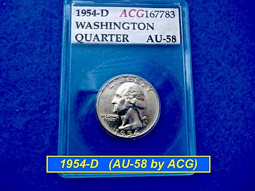 1954-D ☆ Washington Graded as AU-58 by ACCUGRADE ☆ (#2299)b