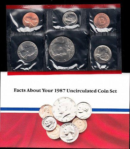 U.S. Uncirculated Coin Set  1987  Mint Set- Double Set  /   WM-28