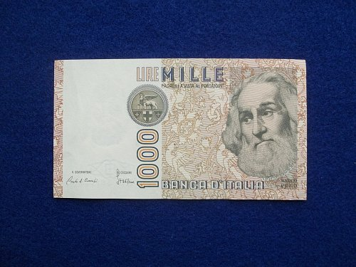ITALY 1982 1000 LIRE WORLD PAPER MONEY IN AU CONDITION!