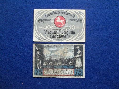 GERMANY 2 PIECE NOTGELD LOT WORLD PAPER MONEY