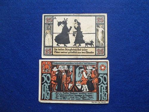 GERMANY 2 PIECE NOTGELD LOT WORLD PAPER MONEY #2