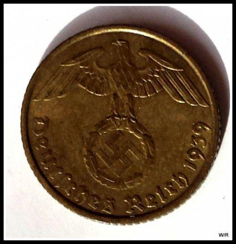 1939-F Third Reich High Grade 5 Pfennig Coin