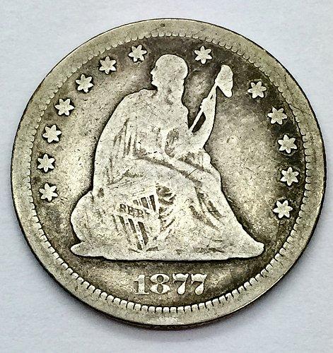 1877 S Seated Liberty Quarter