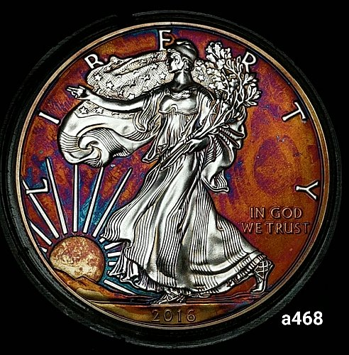 2016 Rainbow Toned Silver American Eagle 1 troy ounce silver Monster toned #a468
