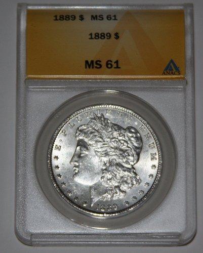 COLLECTIBLE 1889-P MORGAN SILVER DOLLAR MS61 ANACS GRADED....
