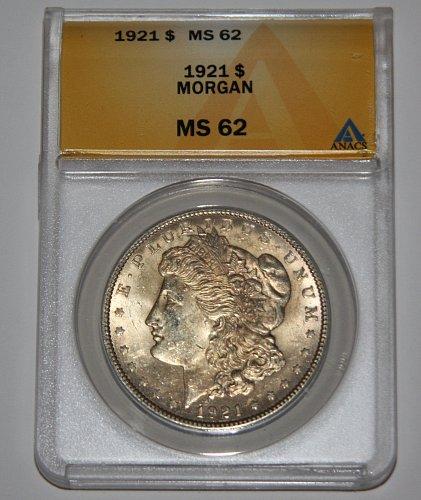 COLLECTIBLE 1921-P MORGAN SILVER DOLLAR MS62 ANACS GRADED....LIGHT GOLD TONE...