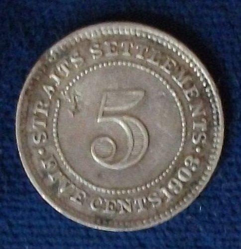1903 Straits Settlements 5 Cents VF Details