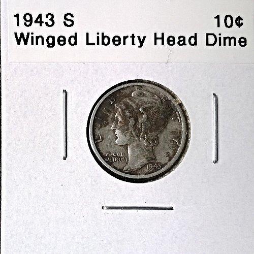 1943 S Winged Liberty Head Dime - 6 Photos!