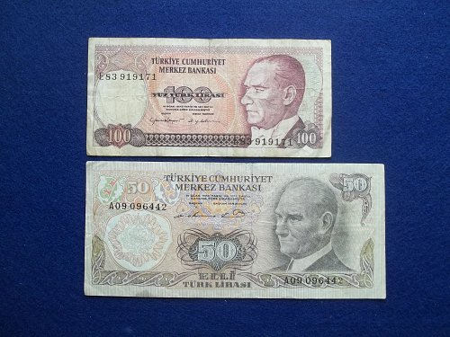 TURKEY 2 PIECE LOT WORLD PAPER MONEY CIRCULATED CONDITION !