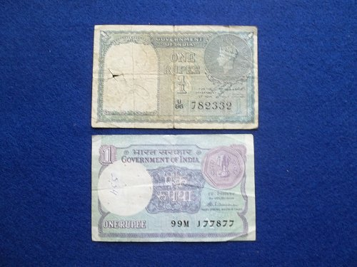 INDIA 2 PIECE LOT WORLD PAPER MONEY CIRCULATED CONDITION !