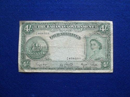 BAHAMAS (ND) 1953 4 SHILLING WORLD PAPER MONEY