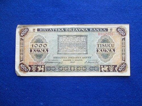 CROATIA 1943 1000 KUNA WORLD PAPER MONEY  WW2 NOTE