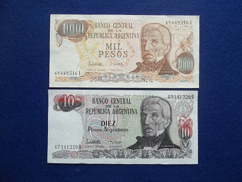 ARGENTINA 2 PIECE LOT WORLD PAPER MONEY CIRCULATED CONDITION !