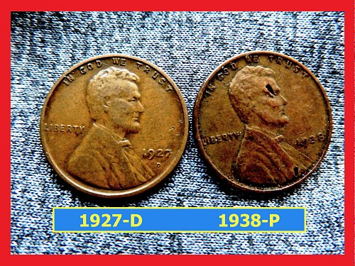 1927-D and 1938 Wheat Pennies ✬ ✬ ✬ ✬ (#7169)b