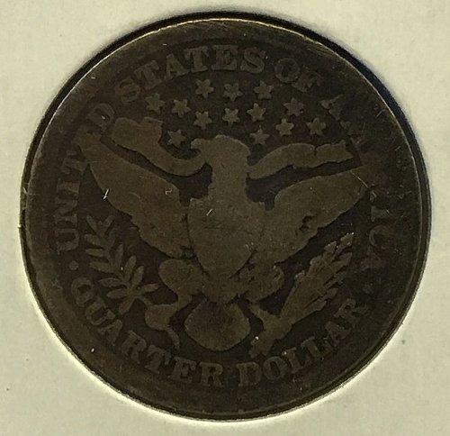 1893 P Barber Quarter - Dark Toning