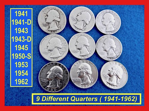 9-COIN Lot of Old Quarters  1941-P-D, 43-P,D,  50-S, 53, 54, 62  (#2603)a