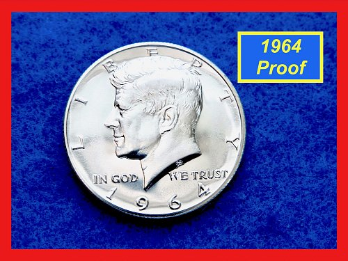 "1964  PROOF JFK Half Dollar ☆ Grade:  ""PR-64""  ☆ ☆ ☆  (#1725)•"