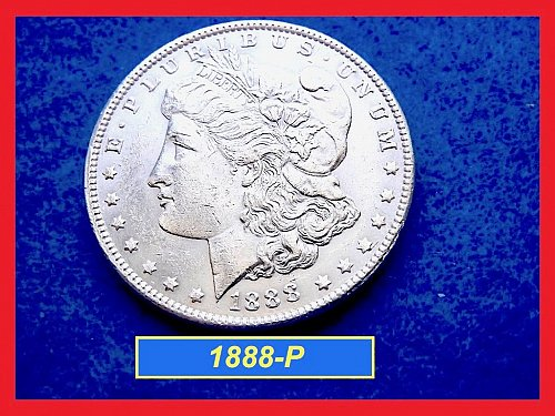 "1888-P Morgan Silver Dollar ☆ ☆ ""AU-58   ☆ ☆  (#5382)a"