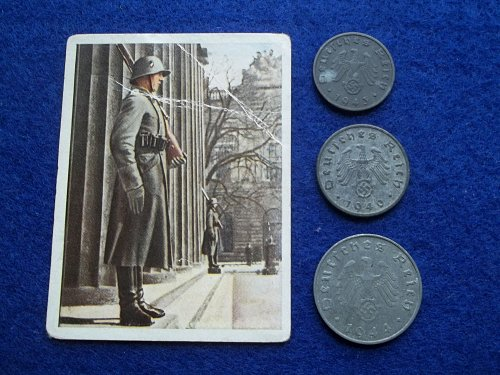 GERMANY WORLD WAR 2 COIN & VINTAGE CIGARETTE CARD LOT