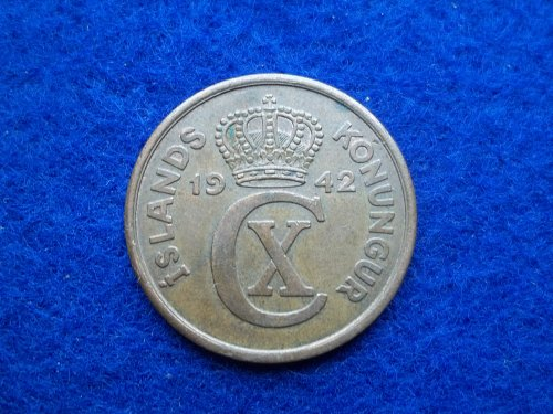 ICELAND 1942 5 AURAR CIRCULATED WORLD COIN