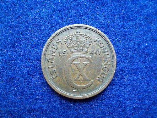 ICELAND 1940 2 AURAR CIRCULATED WORLD COIN