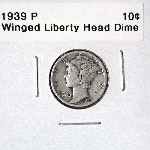 1939 P Winged Liberty Head Dime - 6 Photos!