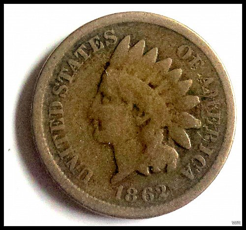 1862 P Indian Head Cent Small Cent