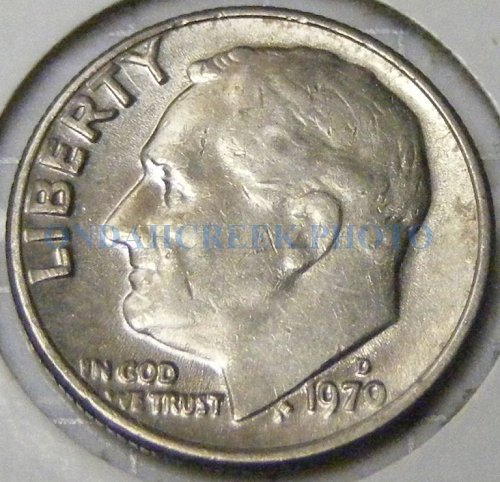 1970-D Roosevelt Dime Reverse of 68 FS-901 XF
