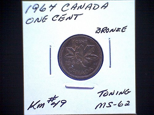 "1964 CANADA ONE CENT QUEEN ELIZABETH 11  ""TONING"""