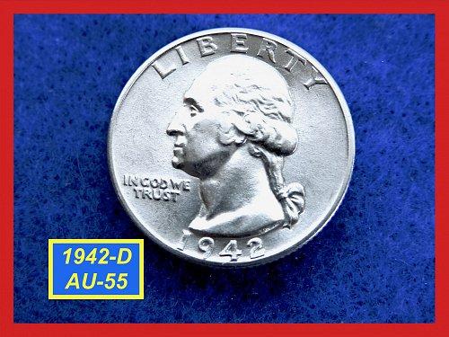 """1942-D Washington Quarter ☆  """"AU-55"""" ☆  (#2618)"""