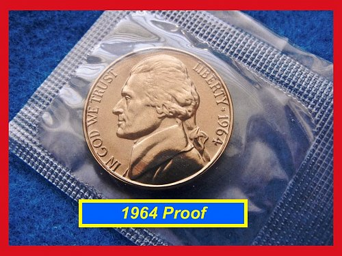 1964 PROOF in Original Mint Cellophane Wrapper  (#6072)•