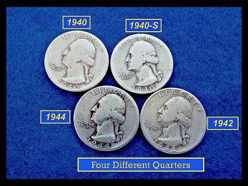 4 Silver Quarters  1940, 1940-S, 1942, and  1944  (#2621)•