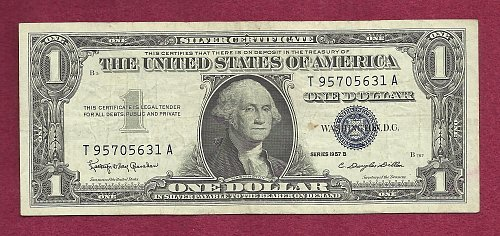US 1957 B $1 Dollar Banknote # T95705631A - SILVER CERTIFICATE !!!