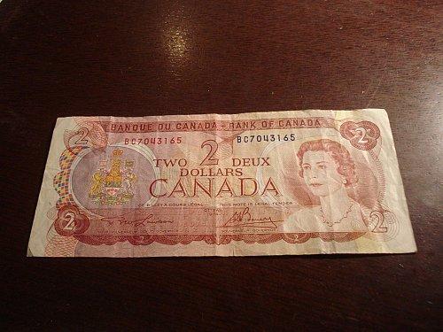 1974 two dollar canada dollar