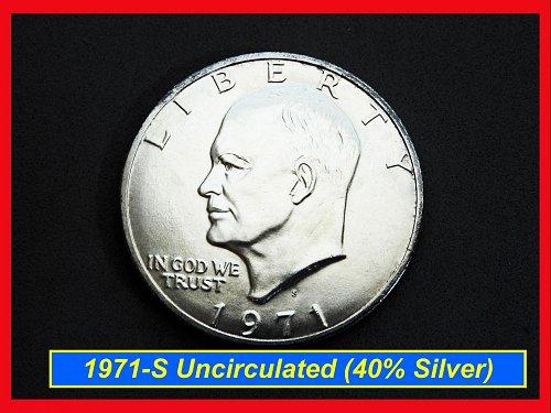 BU Eisenhower SILVER Dollar ☆ 1971-S  ☆  (#5379)•