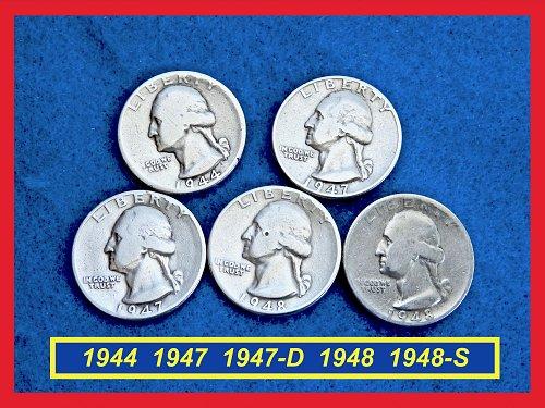 5 Silver Quarters  1944  1947  1947-D  1948  1948-S   (#2624)•