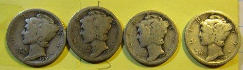 1916,1917,1918, & 18-D Mercury Dimes