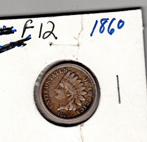 Indian Head Cent of 1860  - Rounded   /  WM-38