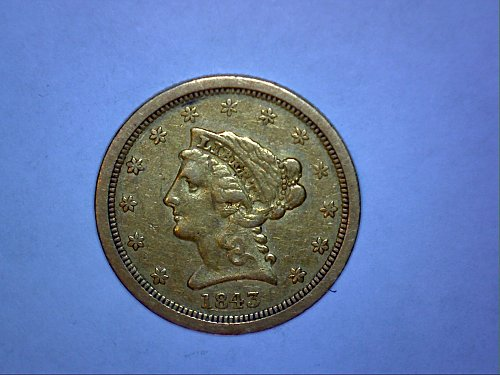 1843 O LIBERTY $2 5 GOLD COIN RARE AND KEY DATE COIN!