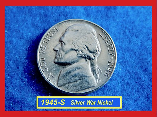 """1945-S ☆ Silver War Nickel  ☆☆ """"AU-53"""" ☆☆   (#5381)•"""
