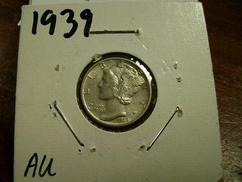 1939 AU Mercury Dime Free Shipping